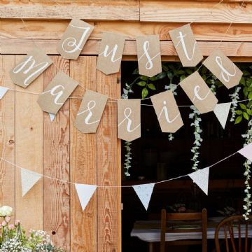 Just Married Hessian Wedding Bunting